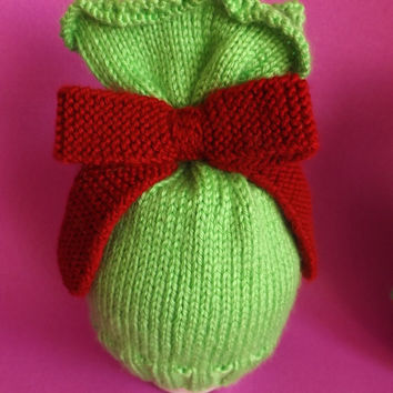 Christmas Baby Hat - Knitted Bon-Bon Sweet Hat - Knitted Christmas Present Hat