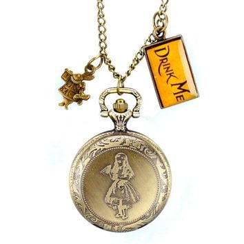 Alice in Wonderland Rabbit and Drink Me Tag Pocket Watch Bronze Long Chain Pendant Necklace Chain Steampunk Gift Kid Men Women