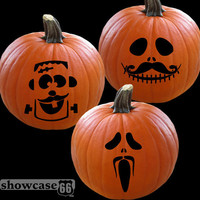 Mustache Pumpkin Grins II - Set of 3 Decals - Vinyl Art - Jack-O-Laterns, Halloween, Season, DIY - FREE Shipping