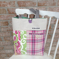 Ecofriendly JOLLY Patchwork Tote, Quilted Bag, IPad Tote, Netbook Tote  -- Upcycled Recycled Repurposed