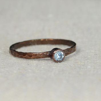 Classic Bronze Copper Aquamarine Ring
