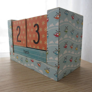 Perpetual Wooden Block Calendar - Helicopters - Great for Boys