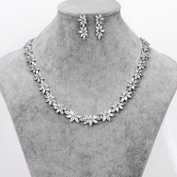 WEIMANJINGDIAN Brand Sparkling Cubic Zirconia CZ Crystal Zircon Flower Necklace and Earring Wedding Bridal Jewelry Sets