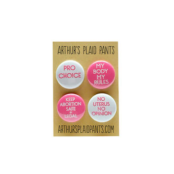 Pro-choice pinback button set, magnet set