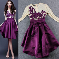 Casual Chiffon Flower Embroidered Long Sleeve Purple Midi Dress