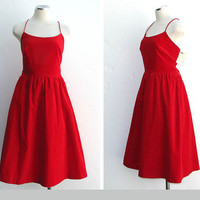 Vintage 60s Lanz Dress / Red Dress / Red Velvet Dress / 50s Dress / 60s Dress / New with Tags / Mad Men / Party Dress / Prom Dress / Size M