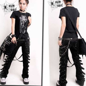 PUNK RAVE ROCKABILY PANTS FASHION MENS WOMENS GOTHIC STREAMPUNK EMO TROUSERS K95 S-4XL