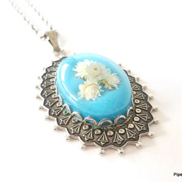 Dried Flower Necklace Long Flower Jewelry Real Flower Pendant Gardener Gift  Blue Ivory Silver tone Cabochon Flower Resin Pendant