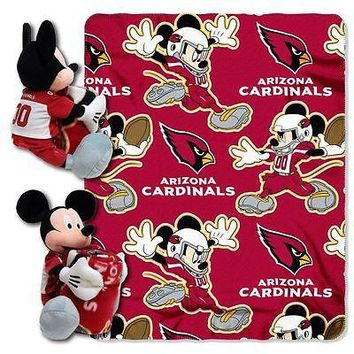 "ARIZONA CARDINALS 40""X50"" DISNEY MICKEY MOUSE HUGGER PILLOW & THROW BLANKET SET"