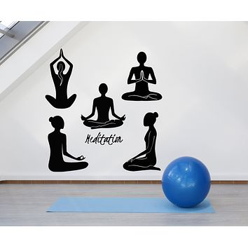 Vinyl Wall Decal Relaxation OM Meditation Yoga Girls Lotus Pose Stickers Mural (g2611)