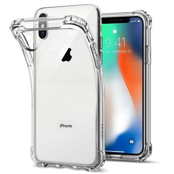ONETOW Spigen Rugged Crystal iPhone X Case with Clear back panel and Reinforced Corners on TPU bumper for Apple iPhone X (2017) - Crystal Clear