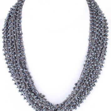 Graphite Beaded Layer Necklace