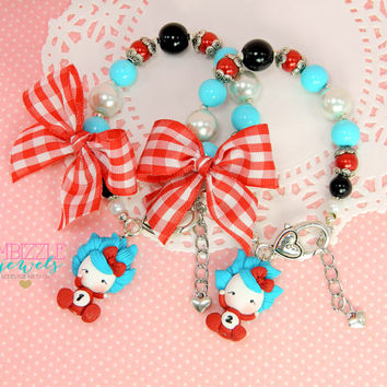 Thing 1 and Thing 2 dr seuss inspired twins bracelet set