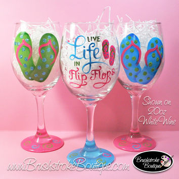 Hand Painted Wine Glass - Flip Flop Life - Original Designs by Cathy Kraemer