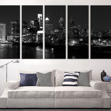 Wall Art - Philadelphia Night City Skyline Canvas Art Print, Extra Large Skyline Philadelphia Wall Art Print, White Black Philadelphia Art - MC55