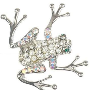 Pave Crystal Stone Frog Metal Pin And Brooch