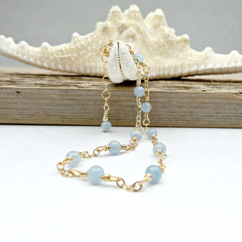 Aquamarine Anklet, Powder Blue Gemstone Ankle Bracelet, Dainty Gold Jewelry