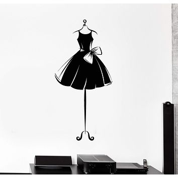 Vinyl Wall Decal Ball Gown Short Mannequin Dress Ballerina Girl Stickers Unique Gift (ig4620)