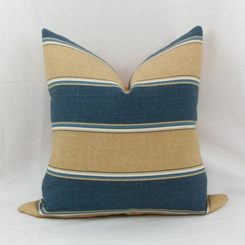 "Navy blue & tan striped indoor/outdoor decorative throw pillow cover. 18"" x 18"" toss pillow. 18"" square accent pillow."