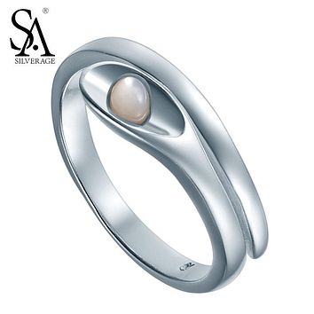 Silver Rings Adjustable Soild 925 Sterling Silver Anniversary Wedding Ring For Women Original Designer Jewelry Girl Friend Gift