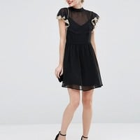 ASOS PETITE Skater Dress with Lace Flutter Sleeve at asos.com