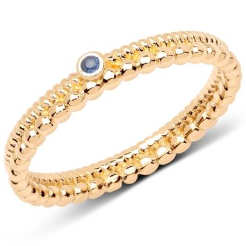 LoveHuang 0.02 Carats Genuine Blue Sapphire Dual Band Stacking Ring Solid .925 Sterling Silver With 18KT Yellow Gold Plating