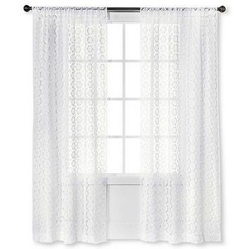 "Xhilaration Crochet Curtain Panel White 42"" X 84"""