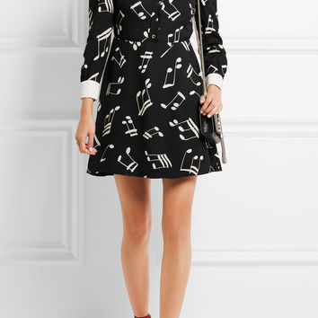 Saint Laurent - Silk twill-trimmed printed crepe mini dress
