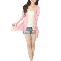 Ladies Pink Front Opening Long Sleeve Textured Cardigan w Waistband XS
