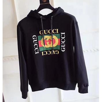 GUCCI Women Man Fashion Snake Embroidery Beads Top Sweater Pullover Hoodie