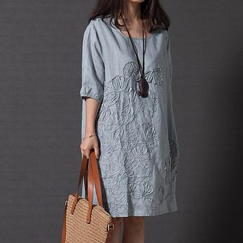 Embroidery Cotton Linen Dress Women Loose Dress O-Neck Half Sleeve Vintage 2017 Autumn Knee-Length Floral Dresses Plus Size XXXL
