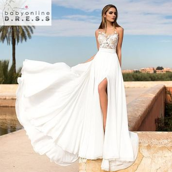 2017 Summer Beach Wedding Dresses High-Slit Boho A-line Sheer Back Bridal Gowns Lace Applique robe de mariage vestido de novia