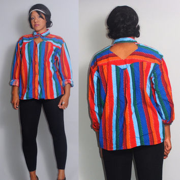 Vintage 1990s  Navajo Southwestern Tribal  silver button down CUT OUT  Button Down Shirt Blouse