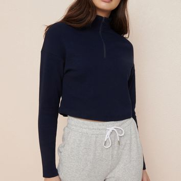 Half Zip Mock Neck Top