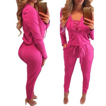 Women Lace Up Long Sleeve V-neck  Mid Waist  Cotton Thin Zipper Jumsuit Rompers Casual Jumpsuit 2018 Spring  New Female Ladies