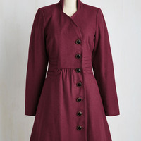 40s Long Long Sleeve Outdoor Orchestra Coat in Berry