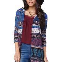 LA Hearts Paisley Hooded Cardigan - Womens Sweater - Blue