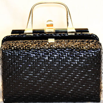"Vanessa - Black Wicker - Brass and Lucite handle/closure ""Trunk Box"" Bag"