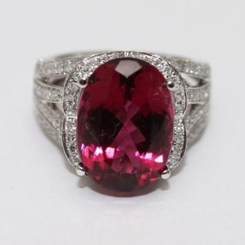 7.85 CT Most Gorgeous Natural Hot Pink Red Rubellite Tourmaline Diamond Ring 14KT White Gold