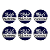 Muhammad Hello My Name Is Plastic Resin Button Set of 6