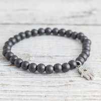 Matte black onyx beaded stretchy bracelet with micro pave Hamsa hand charm, made to order yoga bracelet,  mens bracelet, womens bracelet