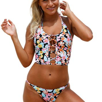 Echoine Maillot Floral Print Lace up Crop Top Bikini Swimsuit Padded Halter Low Waist 2pcs Tankini Bathing Suits Sexy Swimwear