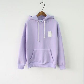 Solid Hooed Hoodies for Women 2016 Hot Sale Korean Pocket Casual Fitness Pullovers Leisure Sweatshirts Drawstring 6 Candy Color