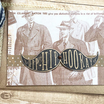 Hip Hip Hooray Mustache Card, It's Your Day, Masculine, Father's Day, Birthday, Celebration, Graduation, Retirement, Vintage, Dad - 5.5 x 4""