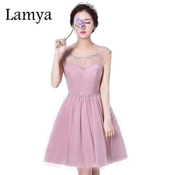 Lamya Lace Up Bridesmaid dress Back Crystal Birthday Night Prom Dress 2017 Abendkleider abiye gece elbisesi