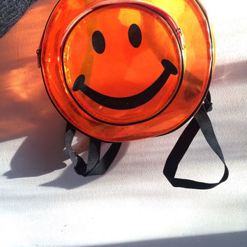90s transparent vinyl plastic smiley face backpack