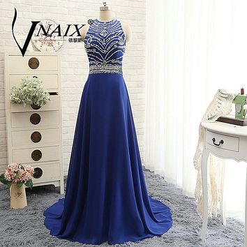 WB616 2017 Real Design Royal Blue Bridesmaid Dresses Bling Chiffon Pink Long Prom Party Dress Formal A Line Bridesmaid Dress