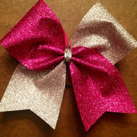 Cheer Bow  Hot Pink and Silver Glitter by FullBidBows on Etsy