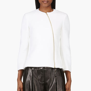 Calvin Klein Collection Ivory Neoprene Tafari Zip Jacket