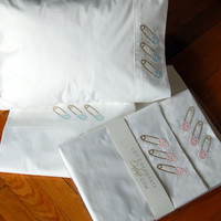 baby bedding 3 pcs, crib sheet set ,best quality percale cotton, baby pin applique embroydery